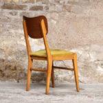 Lot de 6 chaises vintage scandinave teck et velours