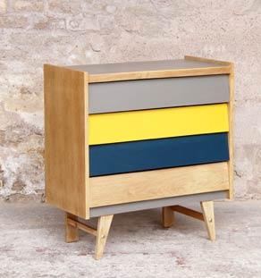 commode vintage fifties jaune gris bleu chene clair gentlemen designers. Black Bedroom Furniture Sets. Home Design Ideas