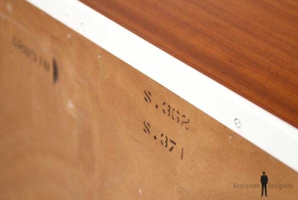 Commode vintage en teck, rénovée, graphique, motifs