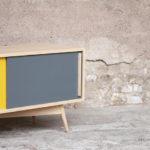 Meuble hifi tv made in france vintage sur mesure couleur porte coulissante chêne