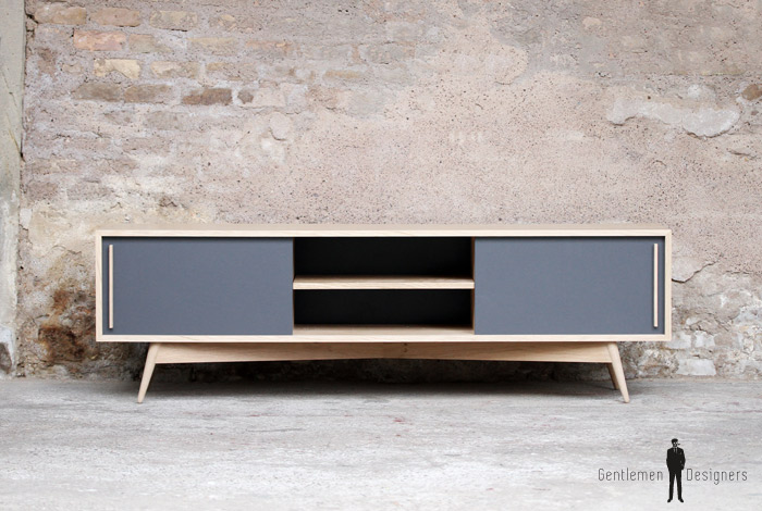 MEUBLE TV BAS CHENE BOIS - made in France - scandinave