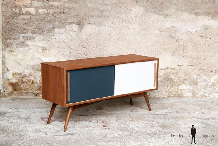 meuble tv hifi bas teck scandinave vintage. Black Bedroom Furniture Sets. Home Design Ideas