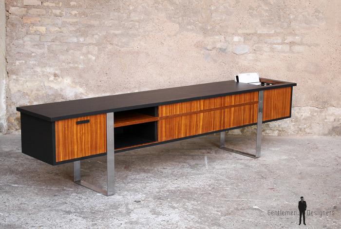 enfilade vinyle meuble tv vintage scandinave en teck. Black Bedroom Furniture Sets. Home Design Ideas