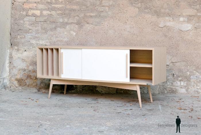 meuble tv hifi vinyles style vintage sur mesure france retro. Black Bedroom Furniture Sets. Home Design Ideas