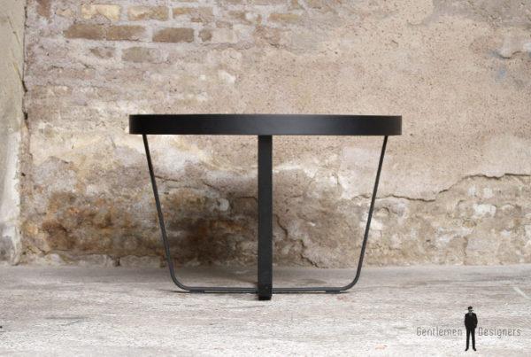 Table ronde vintage rénovée, Formica noir mat
