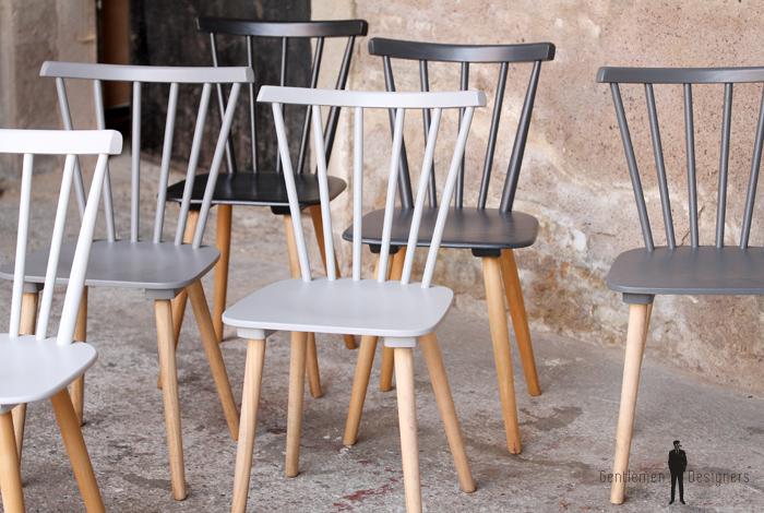 lot de 6 chaises vintage en bois du blanc au noir gentlemen designers. Black Bedroom Furniture Sets. Home Design Ideas