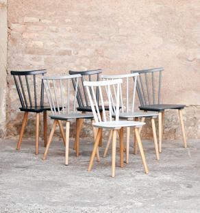 Lot de 6 chaises vintage en bois, du blanc au noir bauman compas gris
