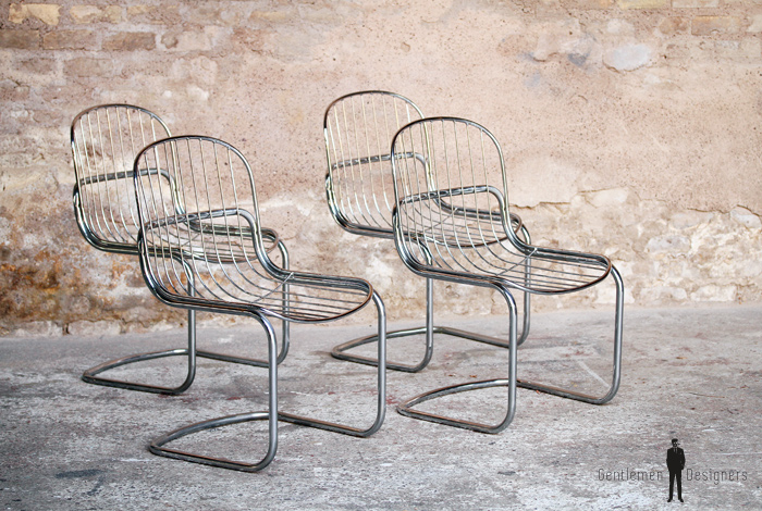 Lot De 4 Chaises Vintage Anne 70 Mtal Chrom