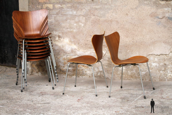 lot chaises vintage scandinave teck, Fritz Hansen, Jacobsen, n°7