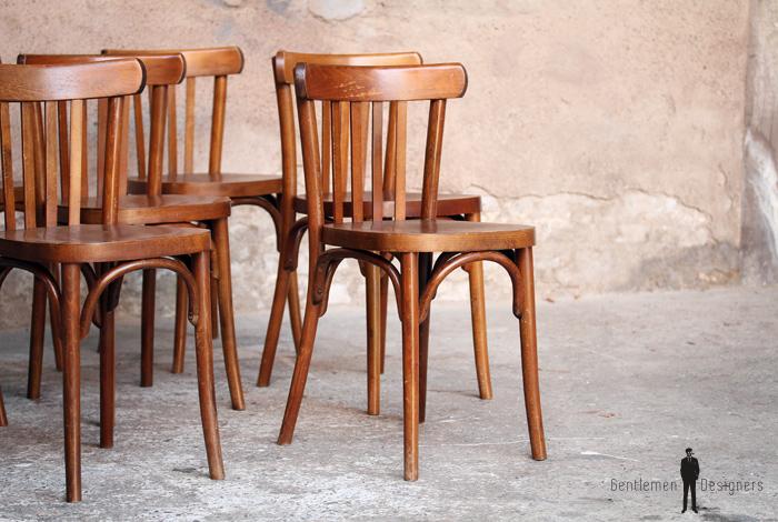 lot de 6 chaises bistrot baumann en bois dossier barreaux. Black Bedroom Furniture Sets. Home Design Ideas