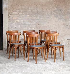 Lot de 8 chaises bistrot baumann en bois, assise bleu pétrole, relookée