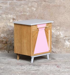 chevet vintage bois graphique rose chene clair relooké