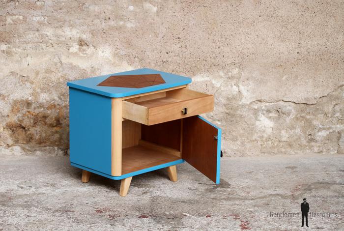 Chevet vintage bois, table d'appoint, bleu, motif graphique