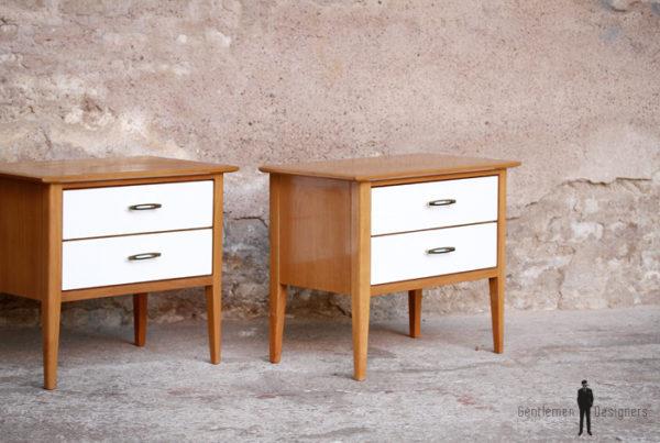 Paire de chevets vintage bois, scandinave, tiroirs blanc