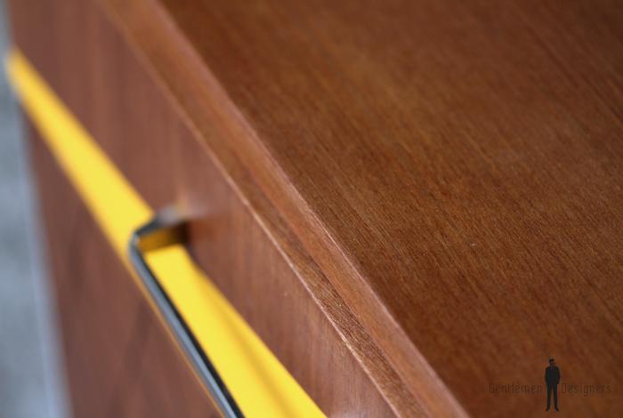 chevet cintage relooke bois teck gris graphique motif