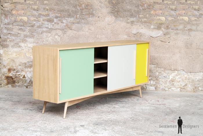 meuble vaisselier bois clair chene portes coulissantes sur mesure jaune vert blanc - Enfilade Bois Clair
