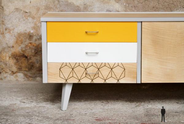 Meuble bas tv vintage motifs graphique, jaune et blanc