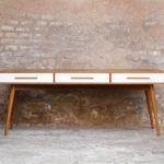 GRAND BUREAU MINISTRE - Bois - Teck - sur-mesure, made in france, Meuble style vintage -