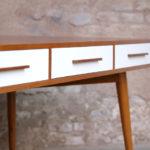 GRAND BUREAU MINISTRE - Bois - Teck, chene - sur-mesure, made in france, Meuble style vintage - tiroirs couleur