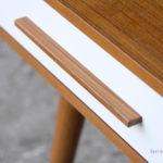 GRAND BUREAU MINISTRE - Bois - Teck, chene - sur-mesure, made in france, Meuble style vintage - gentlemen, designers tiroirs blanc
