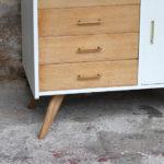 Meuble commode vintage pieds compas en chêne, 4 tiroirs