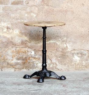 Table ronde bistrot en bois et pieds en fonte noir