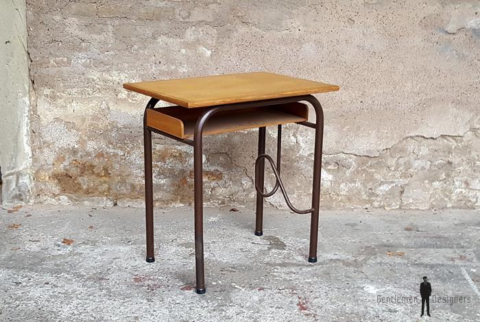 Petit bureau ancien écolier en bois et métal