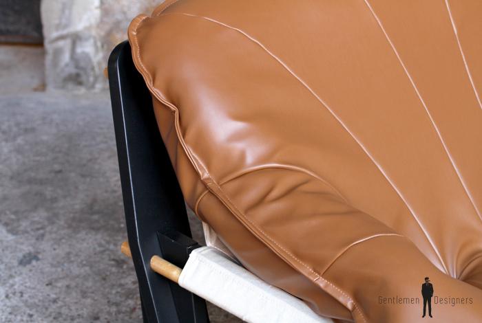 Canapé 2 places entièrement restauré, brun, caramel