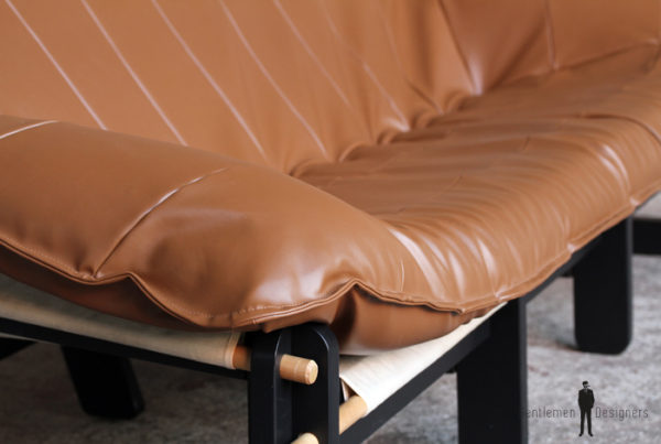 Canapé vintage 3 places entièrement restauré, brun/caramel