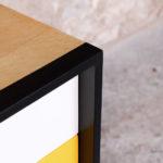 Meuble buffet vintage relooké, jaune, chêne clair, graphique, gentlemen designers