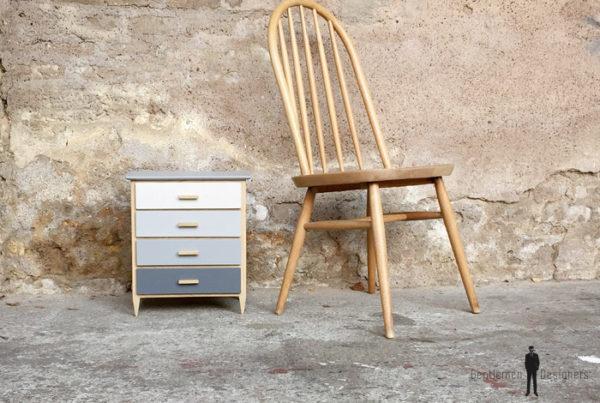 Mini meuble commode à bijoux, fait main, gris et chêne
