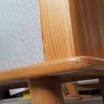 Armoire penderie vintage en bois et tissus, pieds compas gentlemen designers france paris lyon