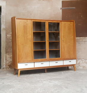 buffet vitrine biblioth que vintage en bois tiroirs et portes. Black Bedroom Furniture Sets. Home Design Ideas