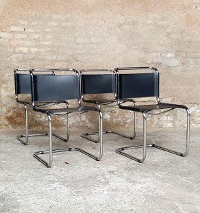 4 chaises vintage tubulaire, style Breuer, cuir noir