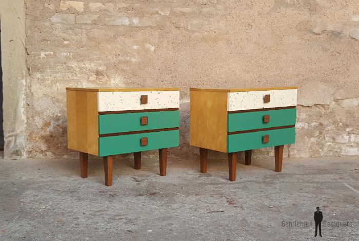 Paire de chevets vintage effet vert tacheté et bois clair gentlemen designers france lyon paris strasbourg