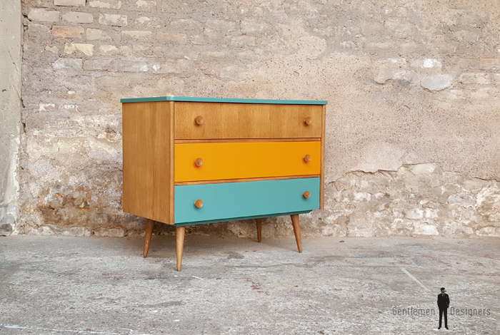 Commode vintage 3 tiroirs, orange bleu turquoise, bois, chambre