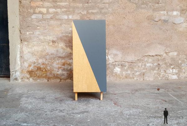 Meuble d'appoint vintage en bois, motifs graphique gris gentlemen designers