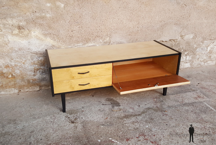 meuble bas tv vintage bois pieds compas. Black Bedroom Furniture Sets. Home Design Ideas