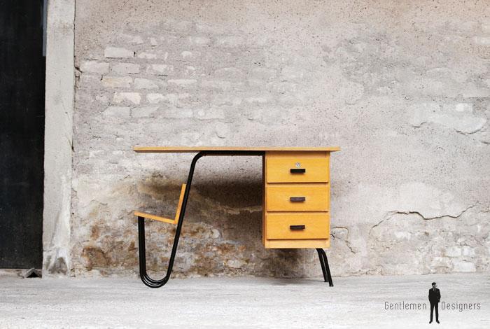 Bureau vintage en bois et métal 3 tiroirs jacques hitier