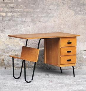 Bureau vintage en bois et métal, 3 tiroirs, Jacques Hitier