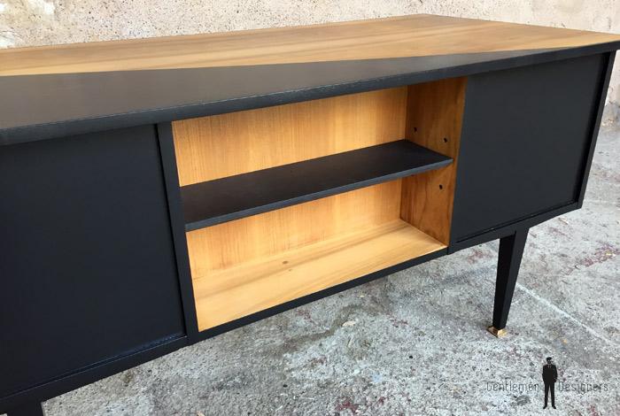 Bureau vintage noir et bois graphique pieds compas