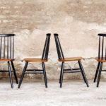 4 chaises vintage Fanett, Tapiovaara teck et bois noir gentlemen designers barreaux