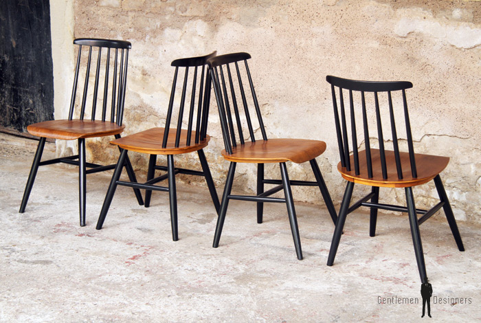 4 Chaises Vintage Fanett Tapiovaara Teck Et Bois Noir Gentlemen Designers Barreaux