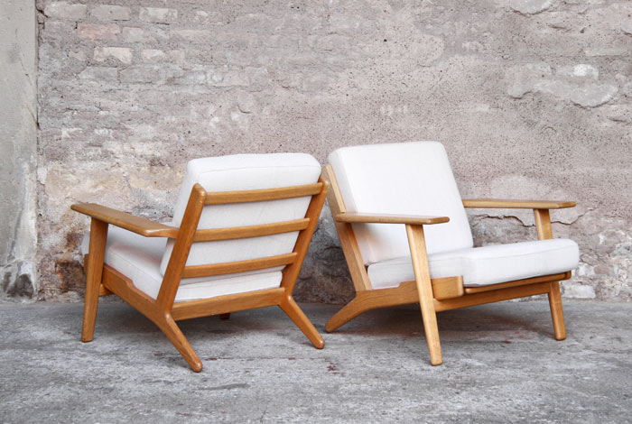 fauteuil chauffeuse vintage hans wegner scandinave gentlemen designers mobilier vintage designers - Fauteuil Scandinave Vintage