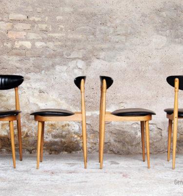 4 chaises vintage années 60 signées Pierre Guariche gentlemen designers