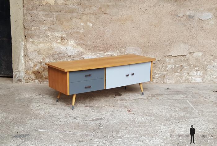 meuble bas tv vintage pieds compas 2 tiroirs 1 porte. Black Bedroom Furniture Sets. Home Design Ideas