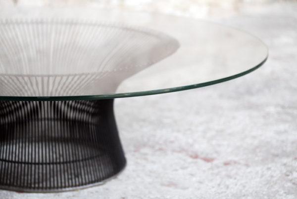 Table basse vintage en verre, Warren Platner, Knoll, 1960 gentlemen designers metal fil acier fin transparente