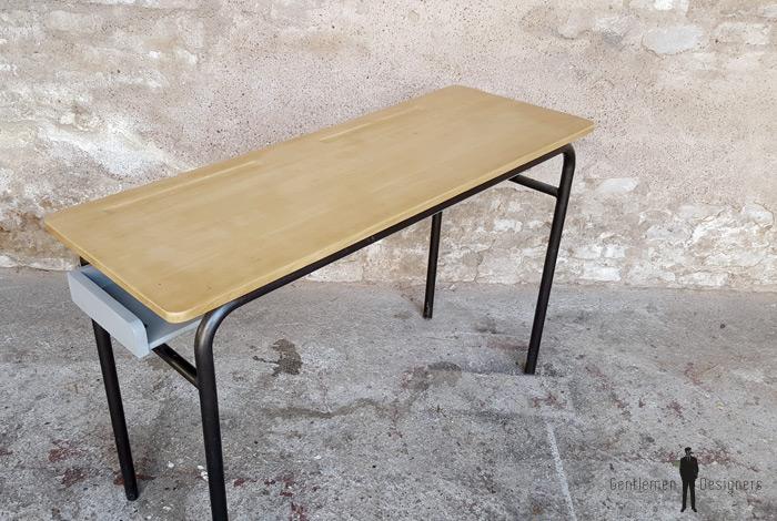 Bureau ancien d'école, 2 places, bois et métal, gris clair