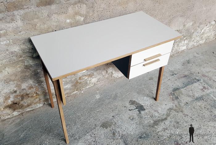 Bureau vintage 2 tiroirs, brun, chocolat, pieds compas gentlemen designers
