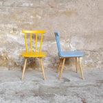 Lot de 2 chaises vintage à barreaux, bois, jaune, bleu